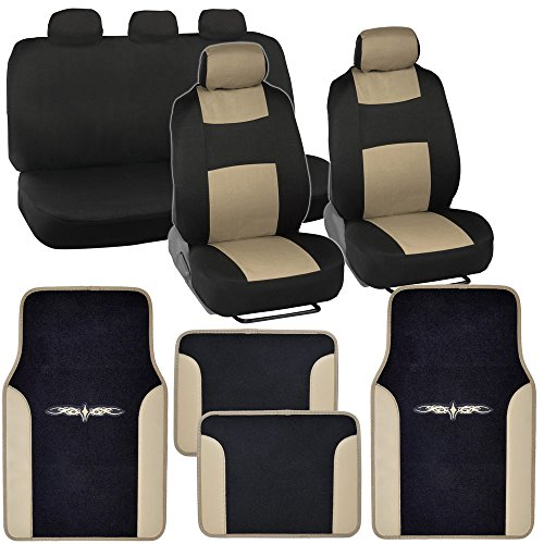 PolyCloth Car Seat Covers Black Beige Tan Two Tone Classic Vinyl Trim PU Leather Carpet Floor Mats For Auto